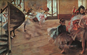 Impressionism Oil Painting - The Rehearsal Impressionism ballet dancer Edgar Degas