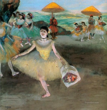Edgar Degas Painting - dancer with a bouquet bowing 1877 Edgar Degas