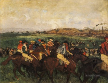 Edgar Degas Painting - gentlemen jockeys before the start 1862 Edgar Degas