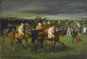 horce races racing Painting - At the Races the Start Edgar Degas