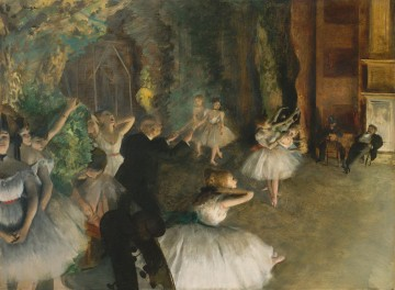 Impressionism Oil Painting - The Rehearsal Of The Ballet Impressionism balletdancer Edgar Degas