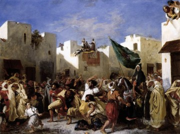 Eugene Delacroix Painting - The Fanatics of Tangier Romantic Eugene Delacroix