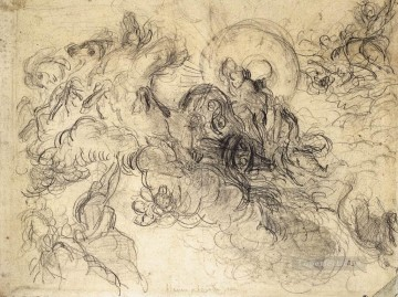 Apollo Slays Python sketch Romantic Eugene Delacroix Oil Paintings
