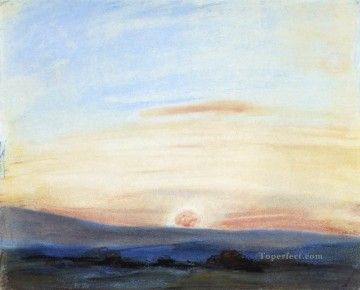 Sun Oil Painting - Study of Sky Setting Sun Romantic Eugene Delacroix