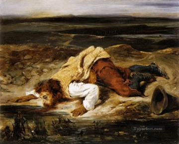 Romantic Painting - A Mortally WOunded Brigand Quenches His Thirst Romantic Eugene Delacroix