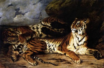 Playing Painting - A Young Tiger Playing with its Mother Romantic Eugene Delacroix