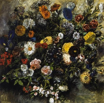 Bouquest of Flowers Romantic Eugene Delacroix Oil Paintings