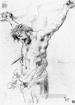 Christ on the Cross sketch 2 Romantic Eugene Delacroix Oil Paintings