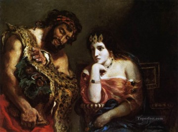 Romantic Painting - Cleopatra and the Peasant Romantic Eugene Delacroix