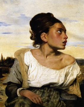 Girl Stead in a Cemetery Romantic Eugene Delacroix رسم زيتي