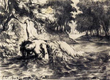 Eugene Delacroix Painting - The Death of Ophelia Romantic Eugene Delacroix