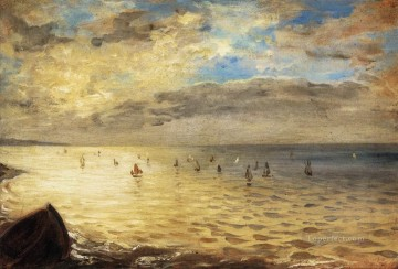 Eugene Delacroix Painting - The Sea from the Heights of Dieppe Romantic Eugene Delacroix