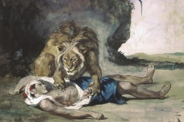 lion rending apart a corpse Eugene Delacroix Oil Paintings