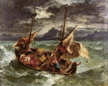 Lake Oil Painting - Christ on the Lake of Gennezaret Romantic Eugene Delacroix