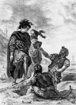 Hamlet and Horatio in the Graveyard sketch Romantic Eugene Delacroix Oil Paintings