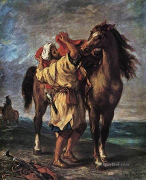 Romantic Painting - Marocan and his Horse Romantic Eugene Delacroix