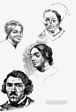 Page of a sketchbook Romantic Eugene Delacroix رسم زيتي