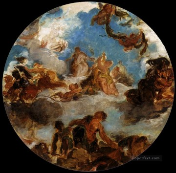 Sketch for Peace Descends to Earth Romantic Eugene Delacroix رسم زيتي