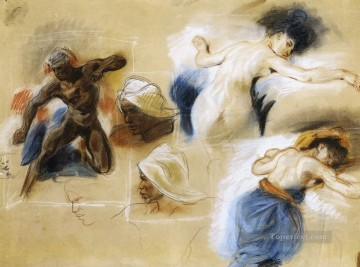 Sketch for The Death of Sardanapalus Romantic Eugene Delacroix Oil Paintings