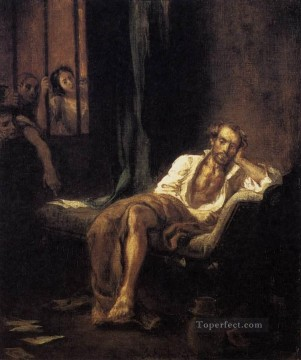 Tasso in the Madhouse Romantic Eugene Delacroix رسم زيتي