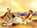 Two Moroccans Seated In The Countryside Romantic Eugene Delacroix