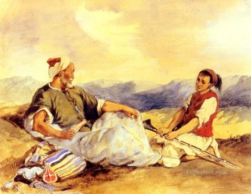 Romantic Painting - Two Moroccans Seated In The Countryside Romantic Eugene Delacroix