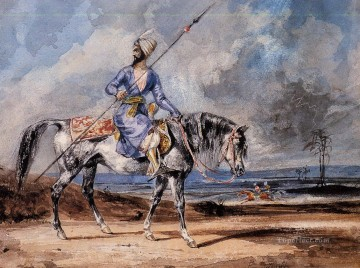 Eugene Delacroix Painting - a turkish man on a grey horse Eugene Delacroix