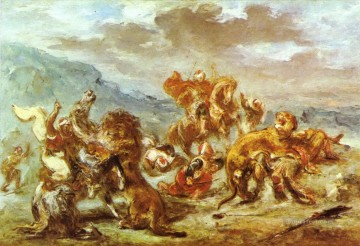 hunt Painting - lion hunt Eugene Delacroix