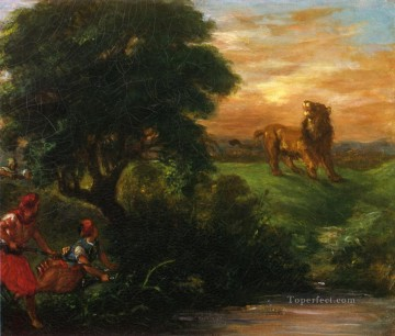 lion art - the lion hunt 1859 Eugene Delacroix