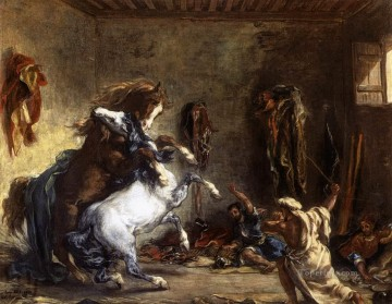 Arab Canvas - Arab Horses Fighting in a Stable Romantic Eugene Delacroix