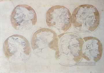 Eugene Painting - Studies Of Antique Medallions Romantic Eugene Delacroix