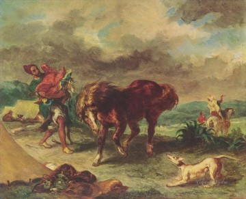 Eugene Delacroix Painting - the moroccan and his horse 1857 Eugene Delacroix