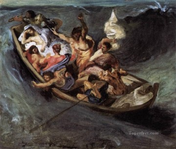 Lake Oil Painting - Christ on the Lake of Gennezaret sketch Romantic Eugene Delacroix