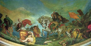 Italy Painting - attila and his hordes overrun italy and the arts 1847 Eugene Delacroix