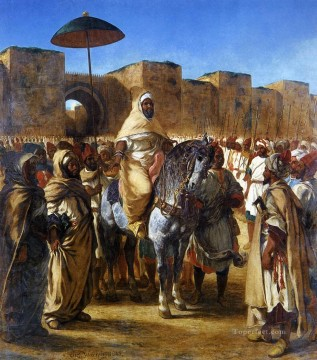 Eugene Delacroix Painting - The Sultan of Morocco and his Entourage Romantic Eugene Delacroix