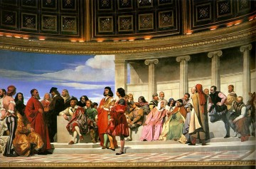 left Canvas - Hemicycle of the Ecole des BeauxArts 1814 left life size histories Hippolyte Delaroche