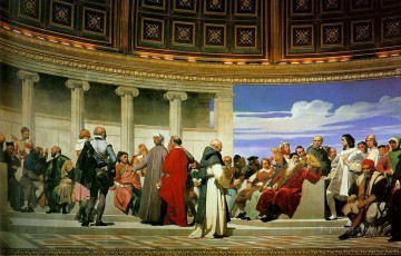 Hemicycle of the Ecole des BeauxArts 1814 right life size histories Hippolyte Delaroche Oil Paintings