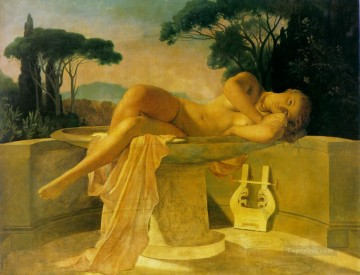 Girl Works - Girl in a Basin 1845unfinished Hippolyte Delaroche