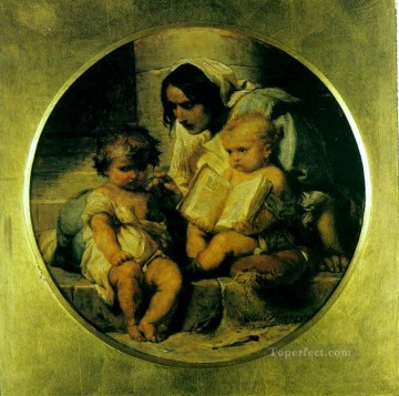 child Painting - A Child Learning to Read 1848 histories Hippolyte Delaroche