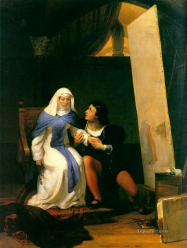 Love Painting - Filippo Lippo Falling in Love with his Model 1822 histories Hippolyte Delaroche