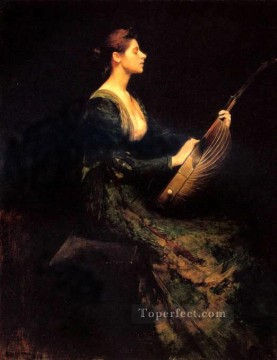 Dewing Canvas - LadyWithALute Tonalist Aestheticism Thomas Dewing
