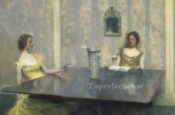 AReading Tonalist Aestheticism Thomas Dewing Oil Paintings