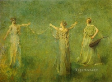 The Garland Tonalist Aestheticism Thomas Dewing Oil Paintings