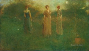 In The Garden Tonalist Aestheticism Thomas Dewing Oil Paintings