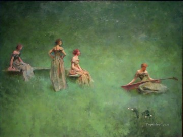 tonalism tonalist Painting - The Lute Tonalist Aestheticism Thomas Dewing