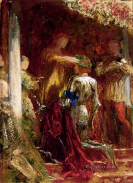 Row Painting - Victory A Knight Being Crowned With A Laurel Wreath Victorian painter Frank Bernard Dicksee