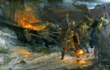 the funeral of a viking Victorian Frank Dicksee Oil Paintings