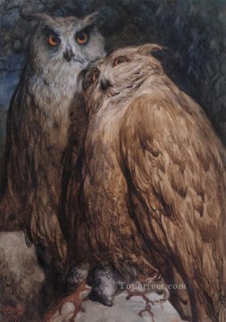 Two Owls Gustave Dore Oil Paintings