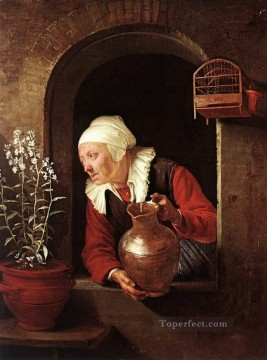 Woman Painting - Old Woman Watering Flowers Golden Age Gerrit Dou