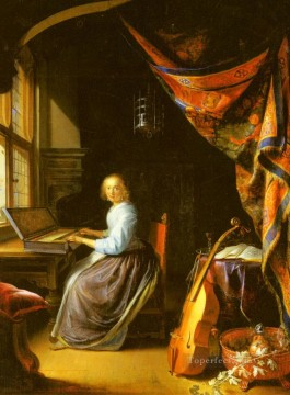 A Woman Playing A Clavichord Golden Age Gerrit Dou Oil Paintings